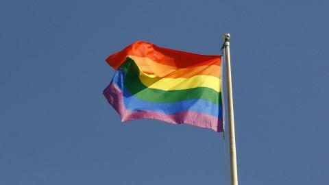 Regenboogvlag gehesen bij provinciehuis